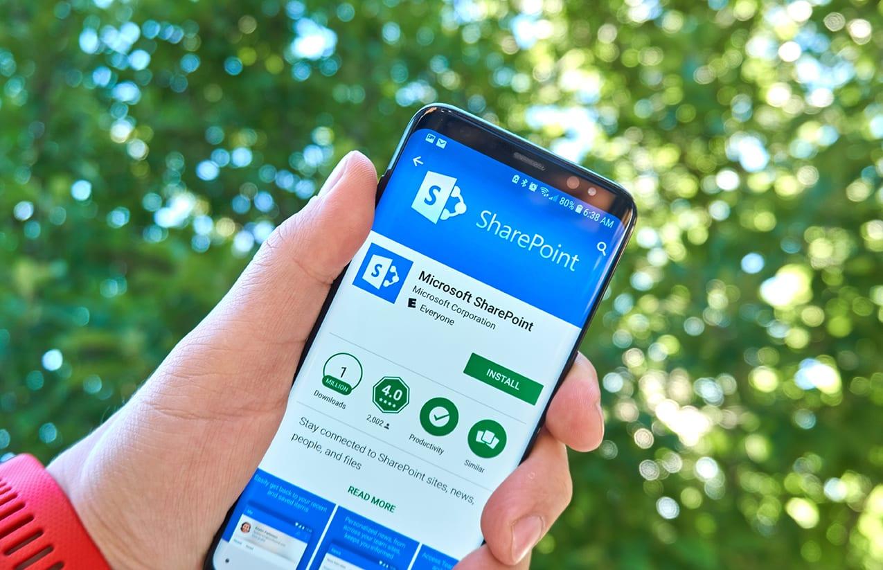 Microsoft SharePoint mobile app on Samsung s8.